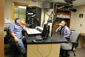 Rob Girard (left) and Kristina Gilbertie (right) Co-Hosts of Psych Word at WNHU/ Photo by Erica Naugle