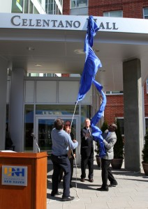 Unveiling the Celentano Hall's sign (Stan Godlewski Photo)