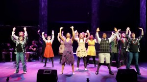 """Final scene from Spring Awakening of cast singing """"The Song of Purple Summer"""" (photo provided by Heather Konish)"""