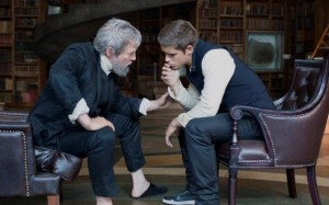 Jeff Bridges, left, and Brenton Thwaites in a scene from The Giver. (AP photo)