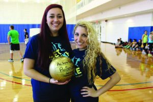 Foundation Chair Lia Veley, left, and Alexis Hanna, head of PR, at Phi Set Spike! (Photo provided by Alexis Hanna/Charger Bulletin photo)