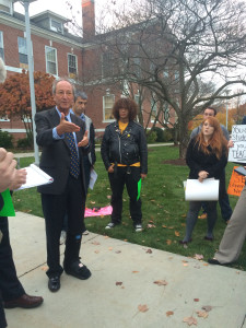 President Kaplan addresses students protesting the 4+1 phase out (Photo by Elissa Sanci/Charger Bulletin photo)