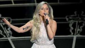 Lady Gaga performing at the 2015 Oscars (AP photo)