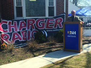 President Kaplan spoke at WNHU's grand opening April 2  (Photo by Katelyn Clark/Charger Bulletin photo)