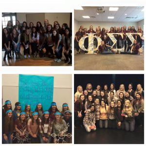 The new members of Delta Phi Epsilon (top left), Phi Sigma Sigma (top right), Alpha Sigma Alpha (bottom left) and Chi Kappa Rho (bottom right)  (Photo obtained via UNH Panhel Facebook)