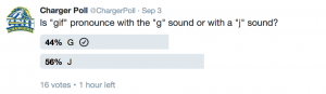 You can partake in our Charger Polls by following @ChargerPoll on Twitter.