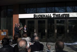 (From left to right) Mr. Bucknall, President Kaplan and a Graduate Student at the Bucknall Theater Dedication Ceremony, April 11.  (Charger Bulletin Photo by Nicholas McDermott)