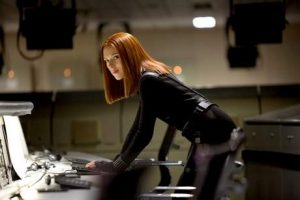 Black Widow, played by Scarlett Johansson, in a scene from Captain America: Winter Soldier  (AP Photo).