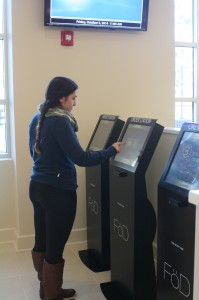 Annalisa places her first order in the new FӧD system (Charger Bulletin photo)