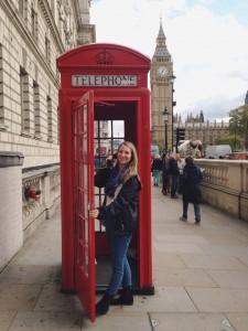 Classic London phone booth near Big Ben (Photo by Ashley Arminio/Charger Bulletin photo)