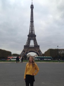 Ashley poses with the Eiffel Tower  (Photo by Ashley Arminio/Charger Bulletin photo)