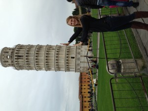 Ashley holds up the Leaning Tower of Pisa  (Photo by Ashley Arminio/Charger Bulletin photo)