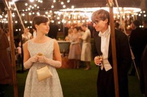 Eddie Redmayne, as a young Hawking, meets his future wife Jane Wilde, played by Felicity Jones (AP photo)