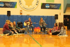 "The Softball team perfomed ""Wagon Wheel"" at Chargers Got Talent (Photo by Erica Naugle / Charger Bulletin Photo)"