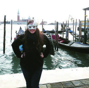 Jessica in one of her new Carnevale masks (Photo by Jessica Sullivan / Charger Bulletin Photo)