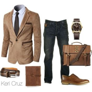 Business casual dark jeans dressed up with a blazer and button up (Photo obtained via Pinterest from polyvore.com)