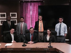 From left to right: John Lewis (Assistant to Mayor), Sam Nicosia, Navjot Singh, Mayor Edward O'Brian, Benjamin Atwater, Sabrina Schell, Dan Delgado-taken by Chris Haynes in West Haven city council hall (Photo provided by Ben Atwater)