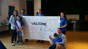 Aly and Colin with their family and ChargerTHON members (Photo by Gabriella Pericone)