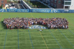 The Class of 2019 accompanied by Charlie the Charger (Photo by Gabriella Pericone/Chariot Yearbook photo)