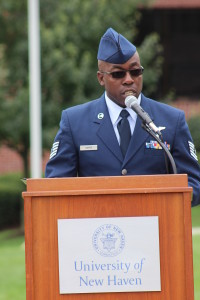 "Darell Harper, an Air Force veteran and New York native, recounted his memories of Tuesday, Sept. 11, 2001. He vividly remembered the events that unfolded that day and recounted his disbelief of the attacks. ""This is my city, and this can't happen,"" he remembered thinking upon first hearing about the plane crashes in New York."