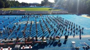 The Marching Band practicing early Saturday morning for their halftime performance (Photo by Jason DeGroff, Band Director)