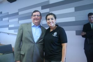 West Haven Mayor O'Brien and student Annalisa Berardinelli (Charger Bulletin photo)