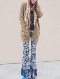 Flared printed pants can be incorporated into a Fall  appropriate outfit  (Photo obtained via HerCampus.com)