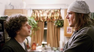 Jesse Eisenberg and Jason Segel in a scene from The End of the Tour (AP photo)