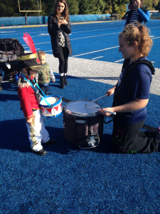 Owen Messing playing drums with snare drummer Karina Krul (Photo by Erin Synder)