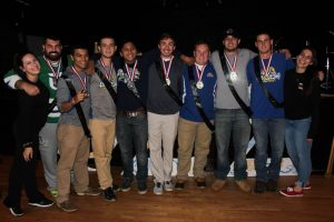 Members of the winning team and their Phi Sig coaches  (Photo by Samantha Reposa/Charger Bulletin photo)