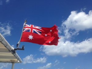 The Australian flag flying high  (Photo by Erica Naugle)