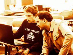 """UNH Student Matthew Sheehy, and Eric Rios, COO of """"Big Bang"""""""
