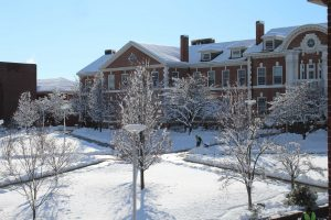 Maxcy Hall after the snow fall (Chariot Yearbook photo)