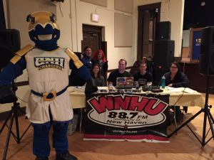 Charlie the Charger poses with the WNHU staff (University of New Haven Alumni Association Facebook photo)