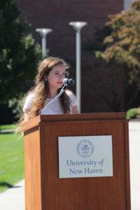 USGA President Samantha Moul addresses at the 9/11 Memorial Ceremony.  (Bulletin Staff)