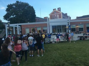Students gather in the quad to play games and listen to music to kick off the semester.  (Photo by Charger Staff)